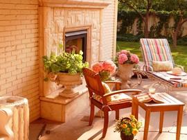 暖炉,屋外,庭